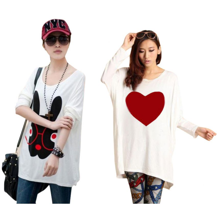 Pack Of 2 Full Sleeves Designer T-Shirts For Women